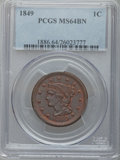 Large Cents, 1849 1C MS64 Brown PCGS. N-22, R.1....