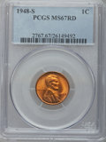 Lincoln Cents: , 1948-S 1C MS67 Red PCGS. PCGS Population (162/0). NGC Census:(954/0). Mintage: 81,735,000. Numismedia Wsl. Price for probl...