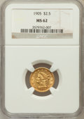 Liberty Quarter Eagles: , 1905 $2 1/2 MS62 NGC. NGC Census: (1431/3750). PCGS Population(1170/3714). Mintage: 217,800. Numismedia Wsl. Price for pro...