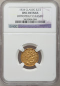 Classic Quarter Eagles, 1834 $2 1/2 -- Improperly Cleaned -- NGC Details. Unc. Large Head, Breen-6140, Variety 2, R.3....