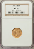Indian Quarter Eagles: , 1927 $2 1/2 MS61 NGC. NGC Census: (1904/11601). PCGS Population(922/7694). Mintage: 388,000. Numismedia Wsl. Price for pro...