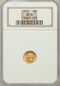 Gold Dollars: , 1850 G$1 MS61 NGC. NGC Census: (105/226). PCGS Population (28/160).Mintage: 481,953. Numismedia Wsl. Price for problem fre...