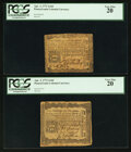 Colonial Notes:Pennsylvania, Pennsylvania April 3, 1772 2s 6d PCGS Very Fine 20 Duet.. ...(Total: 2 notes)