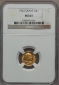 Commemorative Gold, 1922 G$1 Grant No Star MS64 NGC....