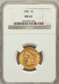 1882 $5 MS62 NGC. NGC Census: (2470/1778). PCGS Population (1259/808). Mintage: 2,514,568. Numismedia Wsl. Price for pro...