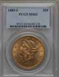 Liberty Double Eagles, 1889-S $20 MS62 PCGS....