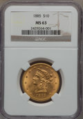 Liberty Eagles, 1885 $10 MS63 NGC....