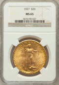 Saint-Gaudens Double Eagles: , 1927 $20 MS65 NGC. NGC Census: (18720/2400). PCGS Population(24786/5450). Mintage: 2,946,750. Numismedia Wsl. Price for pr...