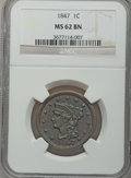 Large Cents: , 1847 1C MS62 Brown NGC. NGC Census: (78/235). PCGS Population(15/90). Mintage: 6,183,669. Numismedia Wsl. Price for proble...