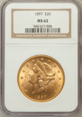 Liberty Double Eagles: , 1897 $20 MS62 NGC. NGC Census: (7134/2846). PCGS Population(4686/1560). Mintage: 1,383,261. Numismedia Wsl. Price for prob...