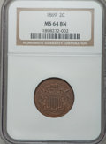 Two Cent Pieces: , 1869 2C MS64 Brown NGC. NGC Census: (142/44). PCGS Population(38/3). Mintage: 1,546,500. Numismedia Wsl. Price for problem...
