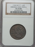 Colonials: , 1760 1/2P Hibernia-Voce Populi Halfpenny VF25 NGC. NGC Census:(7/73). PCGS Population (16/211). (#262). From The Dr. C...