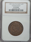 Colonials: , 1787 COPPER Connecticut Copper, Draped Bust Left VF30 NGC. NGCCensus: (21/38). PCGS Population (60/179). (#370). From ...