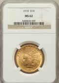 Indian Eagles: , 1910 $10 MS62 NGC. NGC Census: (1959/1574). PCGS Population(1599/1286). Mintage: 318,500. Numismedia Wsl. Price for proble...
