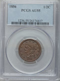 Half Cents: , 1856 1/2 C AU55 PCGS. PCGS Population (33/165). NGC Census:(11/239). Mintage: 40,430. Numismedia Wsl. Price for problem fr...