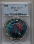 Modern Bullion Coins: , 1986 $1 Silver Eagle MS67 PCGS. PCGS Population (241/6260). NGCCensus: (75/95364). Mintage: 5,393,005. Numismedia Wsl. Pri...