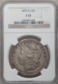 Morgan Dollars: , 1893-CC $1 Fine 15 NGC. NGC Census: (83/2545). PCGS Population (182/4660). Mintage: 677,000. Numismedia Wsl. Price for prob...
