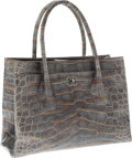 Luxury Accessories:Bags, Chanel Metallic Silver Crocodile Oversize Cerf Tote Bag with Burnished Silver Hardware. ...