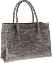 Chanel Metallic Silver Crocodile Oversize Cerf Tote Bag with Burnished Silver Hardware