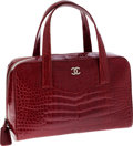 Luxury Accessories:Bags, Chanel Shiny Red Crocodile Large Bowling Bag with Silver Hardware....