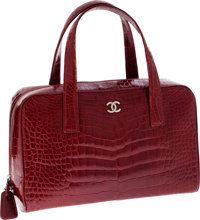 Chanel Shiny Red Crocodile Large Bowling Bag with Silver Hardware