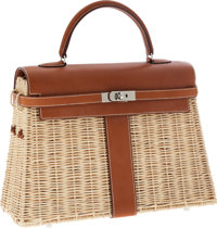 Hermes Limited Edition 36cm Barenia Leather & Wicker Picnic Kelly Bag with Palladium Hardware