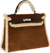 Hermes Extremely Rare 35cm Shearling Kelly Bag with Palladium Hardware