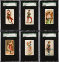 Non-Sport Cards:Lots, 1888-89 Kimball & Kinney Tobacco Collection (13) - Dancers,Bathers, Etc....