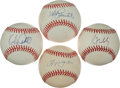 Autographs:Baseballs, Baseball Legends Single Signed Baseballs Lot Of 3.(IncludingMaddux, Jones, etc)...