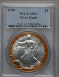 Modern Bullion Coins: , 1999 $1 Silver Eagle MS67 PCGS. PCGS Population (203/4865). NGCCensus: (140/71519). Numismedia Wsl. Price for problem fre...