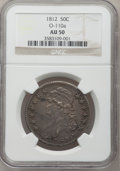 Bust Half Dollars: , 1812 50C AU50 NGC. O-110a. NGC Census: (33/510). PCGS Population(64/432). Mintage: 1,628,059. Numismedia Wsl. Price for pr...