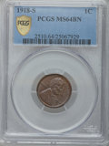 1918-S 1C MS64 Brown PCGS Secure. PCGS Population (50/7). NGC Census: (43/14). Mintage: 34,680,000. Numismedia Wsl. Pric...