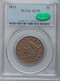 Large Cents: , 1833 1C AU53 PCGS. CAC. PCGS Population (11/105). NGC Census:(11/219). Mintage: 2,739,000. Numismedia Wsl. Price for probl...