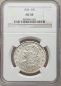 Bust Half Dollars: , 1834 50C Small Date, Small Letters AU58 NGC. NGC Census: (0/0).PCGS Population (103/152). (#6166)...