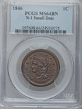 1846 1C Small Date MS64 Brown PCGS. N-1. PCGS Population (21/4). NGC Census: (62/45). Mintage: 4,120,800. Numismedia Wsl...