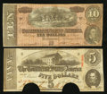 Confederate Notes:1863 Issues, $5 1863 and $10 1864 Notes.. ... (Total: 2 notes)