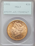 Liberty Double Eagles: , 1901 $20 MS63 PCGS. PCGS Population (1683/1741). NGC Census:(1661/1707). Mintage: 111,400. Numismedia Wsl. Price for probl...