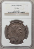 Coins of Hawaii: , 1883 $1 Hawaii Dollar XF45 NGC. NGC Census: (52/188). PCGSPopulation (144/256). Mintage: 500,000. (#10995)...