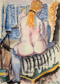 Works on Paper, PAUL KLEINSCHMIDT (German, 1883-1949). Woman Dressing, 1944. Watercolor and pencil on paper. 31 x 22-1/2 inches (78.7 x ...