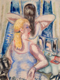 Impressionism & Modernism:post-Impressionism, PAUL KLEINSCHMIDT (German, 1883-1949). At the Vanity, 1944.Watercolor on paper. 30-1/2 x 22-3/4 inches (77.5 x 57.8 cm)...