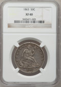 Seated Half Dollars: , 1863 50C XF40 NGC. NGC Census: (4/72). PCGS Population (5/84). Mintage: 503,200. Numismedia Wsl. Price for problem free NGC...