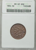 Half Cents: , 1854 1/2 C MS62 Brown ANACS. NGC Census: (98/297). PCGS Population(61/199). Mintage: 55,358. Numismedia Wsl. Price for pro...