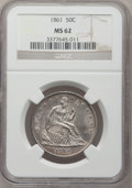 Seated Half Dollars: , 1861 50C MS62 NGC. NGC Census: (34/160). PCGS Population (42/169).Mintage: 2,888,400. Numismedia Wsl. Price for problem fr...