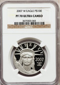 Modern Bullion Coins, 2007-W $100 One-Ounce Platinum Eagle PR70 Ultra Cameo NGC. NGCCensus: (0). PCGS Population (173). Numismedia Wsl. Price f...