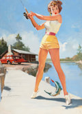 Pin-up and Glamour Art, GIL ELVGREN (American, 1914-1980). A Good Catch, preliminaryNAPA Auto Parts calendar illustration. Oil on board. 29.5 x...