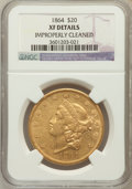 Liberty Double Eagles: , 1864 $20 -- Improperly Cleaned -- NGC Details. XF. NGC Census:(11/237). PCGS Population (19/159). Mintage: 204,285. Numism...
