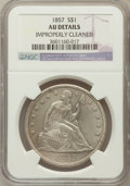Seated Dollars: , 1857 $1 -- Improperly Cleaned -- NGC Details. AU. NGC Census:(1/63). PCGS Population (9/87). Mintage: 94,000. Numismedia W...