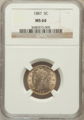 Liberty Nickels: , 1887 5C MS64 NGC. NGC Census: (156/93). PCGS Population (202/117).Mintage: 15,263,652. Numismedia Wsl. Price for problem f...