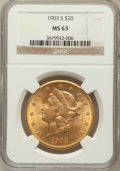 Liberty Double Eagles: , 1903-S $20 MS63 NGC. NGC Census: (1319/278). PCGS Population(1366/364). Mintage: 954,000. Numismedia Wsl. Price for proble...
