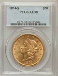 Liberty Double Eagles: , 1874-S $20 AU58 PCGS. PCGS Population (283/395). NGC Census:(1188/593). Mintage: 1,214,000. Numismedia Wsl. Price for prob...